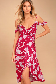 Disney by MINKPINK Enchanted Rose Red Floral Print Wrap Dress