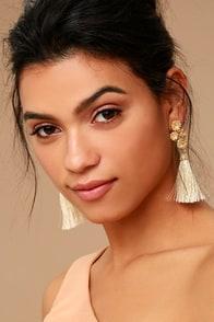 Beneath the Flowers Gold and Beige Tassel Earrings