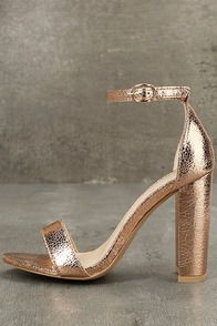 Glamorous Ceara Rose Gold Ankle Strap Heels