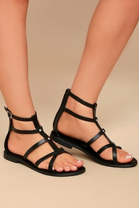 Rebels Florence Black Leather Gladiator Sandals