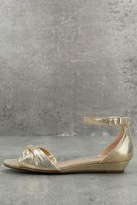 Maryanna Champagne Wedge Sandals