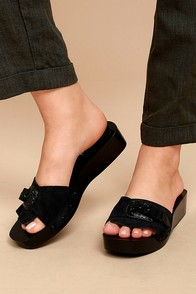 Free People Westtown Black Suede Leather Buckled Wedges