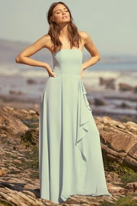 Sweetest Kiss Turquoise Strapless Maxi Dress