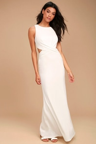 Trista White Cutout Maxi Dress