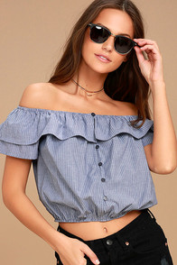 Amore Than Ever Blue Striped Off-the-Shoulder Crop Top