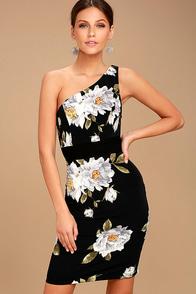 Save Me A Dance Black Floral Print One Shoulder Dress