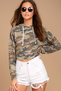 Cute Cadet Green Camo Print Cropped Hoodie
