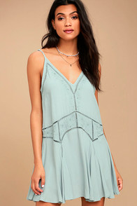 ASTR the Label Paulette Slate Grey Embroidered Dress