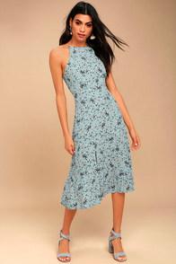 ASTR the Label Pascal Light Blue Floral Print Midi Dress
