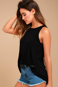 RVCA Label Black Tunic Tank Top