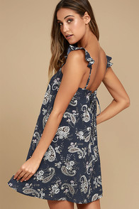 J.O.A. How Forever Feels Navy Blue Print Lace-Up Swing Dress