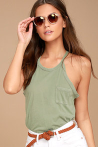 Others Follow Allyson Washed Olive Green Tank Top