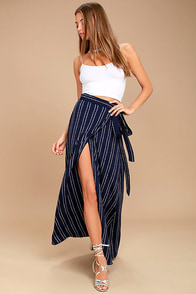 Whole Wide World Navy Blue Print Wrap Maxi Skirt