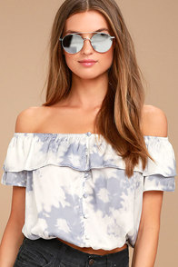 Cotton Candy Daydream Blue Grey Tie-Dye Off-the-Shoulder Top