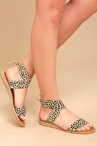 Dolce Vita Pomona Leopard Pony Fur Lace-Up Sandals