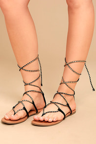 Emilia Black and Gold Lace-Up Flat Sandals