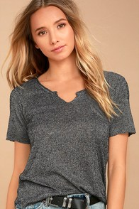 Project Social T Suzie Shirttail Charcoal Grey Tee