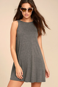 There She Goes Dark Grey Backless Swing Dress