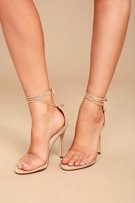Ledah Nude Suede Lace-Up Heels