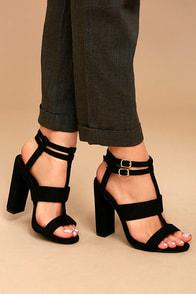 Idalia Black Suede Strappy Peep Toe Heels