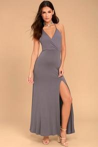 Desert Skies Dusty Purple Backless Maxi Dress