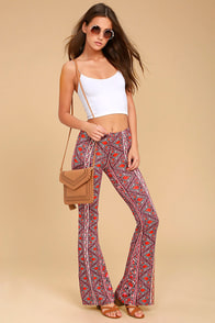 Billabong For Now Burgundy Print Flare Pants