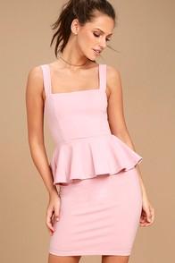 One More Kiss Blush Pink Peplum Dress