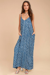 Beautiful Day Blue and White Print Maxi Dress