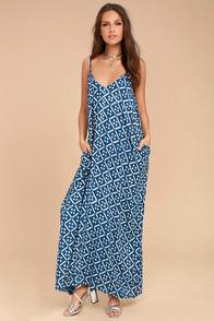 Beautiful Day Blue and White Print Maxi Dress