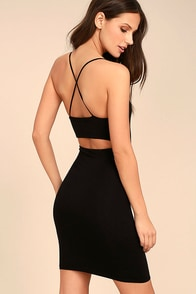 Looking Fine Black Bodycon Dress