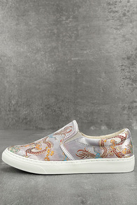Ninette Silver Embroidered Slip-On Sneakers