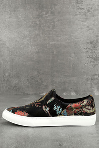 Ninette Black Embroidered Slip-On Sneakers