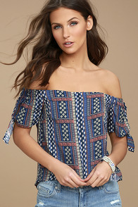 Coconut Grove Navy Blue Print Off-the-Shoulder Top