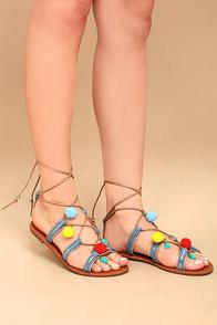 Isabeau Natural Lace-Up Pompom Sandals