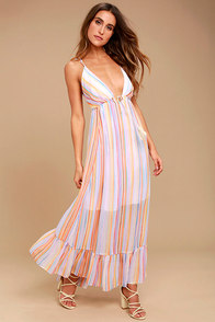 Free People These Days Lavender Striped Maxi Dress