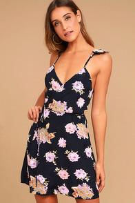 Roe + May Savona Navy Blue Floral Print Mini Wrap Dress