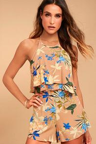 ASTR the Label Bianca Nude Floral Print Halter Romper