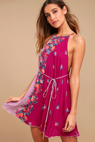 Free People It's a Cinch Magenta Floral Print Dress