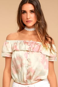 Cotton Candy Daydream Pink Tie-Dye Off-the-Shoulder Top