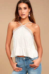 lovely white lace top crochet lace crop top long
