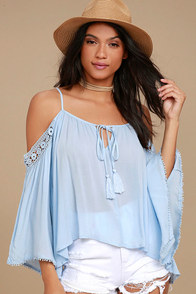 I Feel It Light Blue Lace Off-the-Shoulder Top