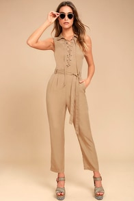 Moon River Explorer Khaki Lace-Up Jumpsuit