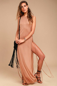 MINKPINK Ember Terra Cotta Fringe Maxi Dress