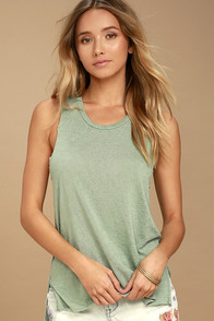 Project Social T James Sage Green Tank Top