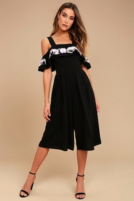 I. Madeline Thinking of You Black Embroidered Midi Jumpsuit