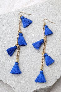 Vanessa Mooney Dynasty Blue Tassel Earrings