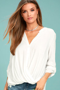 Making A Difference White Button-Up Top at Lulus.com!
