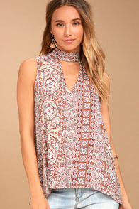 Traveler Rust Red Print Sleeveless Top