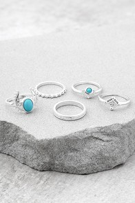 Ocean Eyes Blue and Silver Ring Set