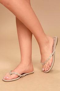 Laveda Nude Suede Pearl Flip Flops
